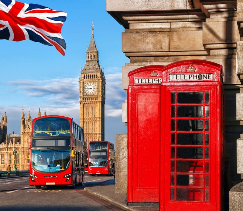 London double decker red bus with big ben and red phone booth