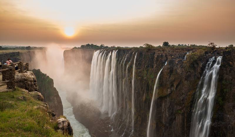 Victoria Falls sunset viewed from Zambia