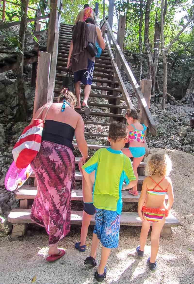 families at Cenote dos Oyos