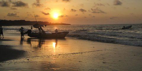 Tamarindo beach in Costa Rica at sunset