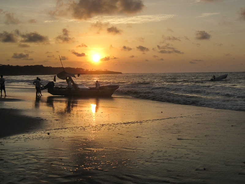 Tamarindo beach in Costa Rica at sunset