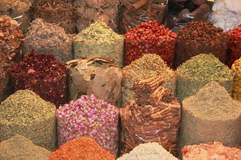 Spices in Dubai souk market