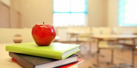 Teachers apple and books