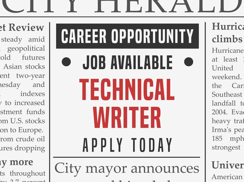 Technical writer job ad in newspaper