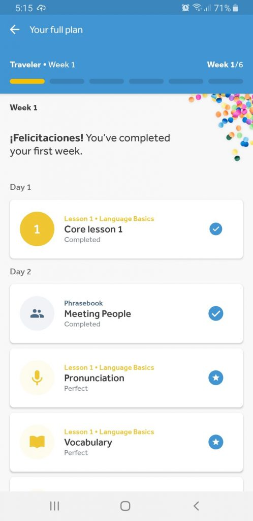 Rosetta Stone App completed lessons week 1