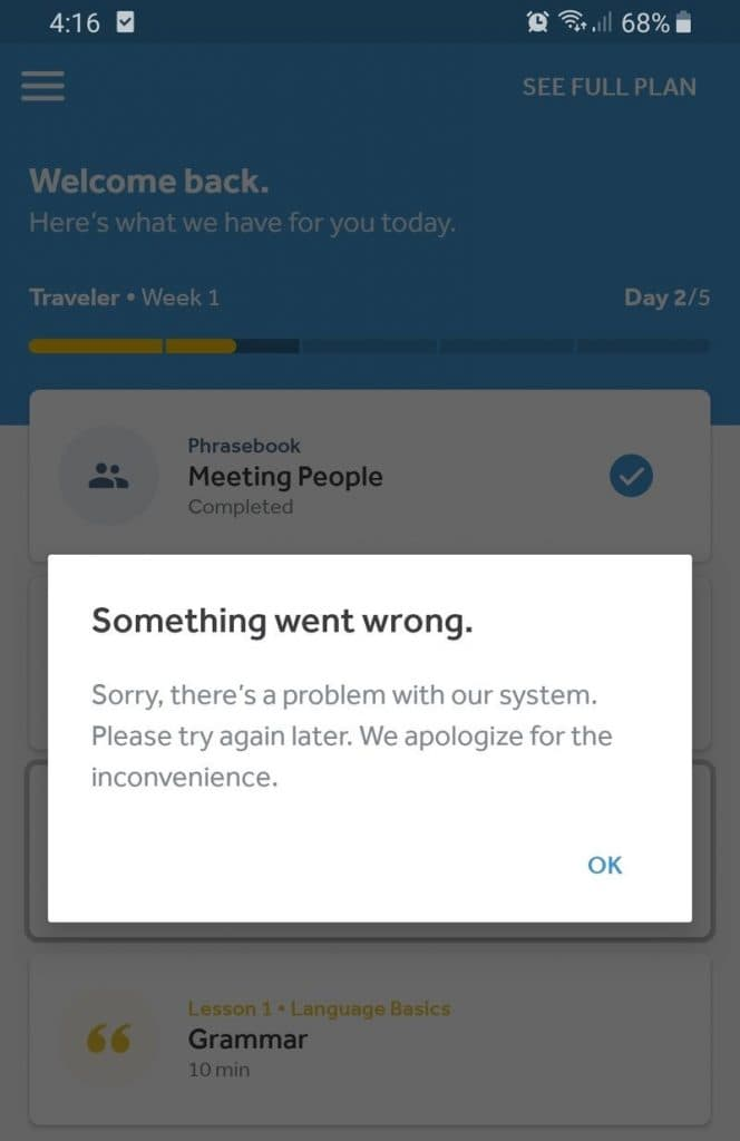 Rosetta Stone App something went wrong error