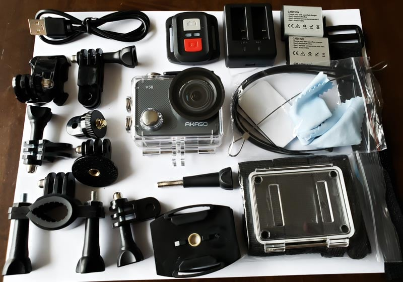 AKASO V50X what's included in the box, action cam, remote, accessories, batteries, charger, cable and more.