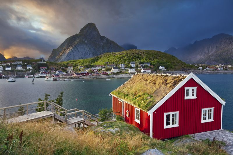 Image of fishing village Reine on Lofoten Islands in Norway