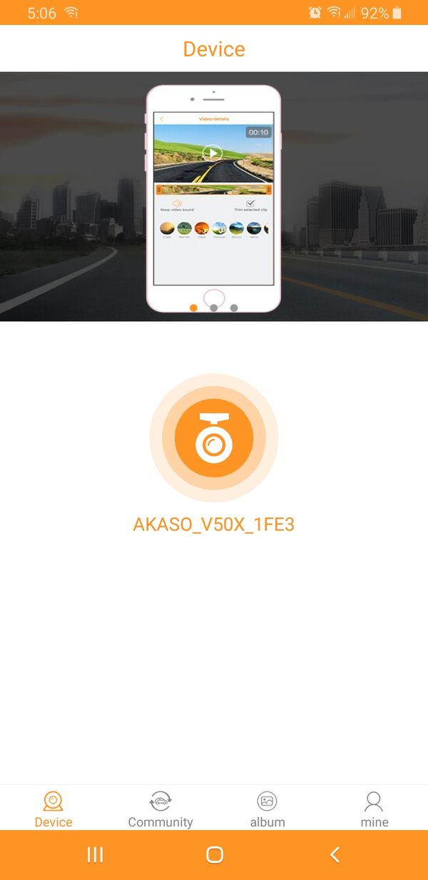 AKASO V50X connection to the RoadCam app