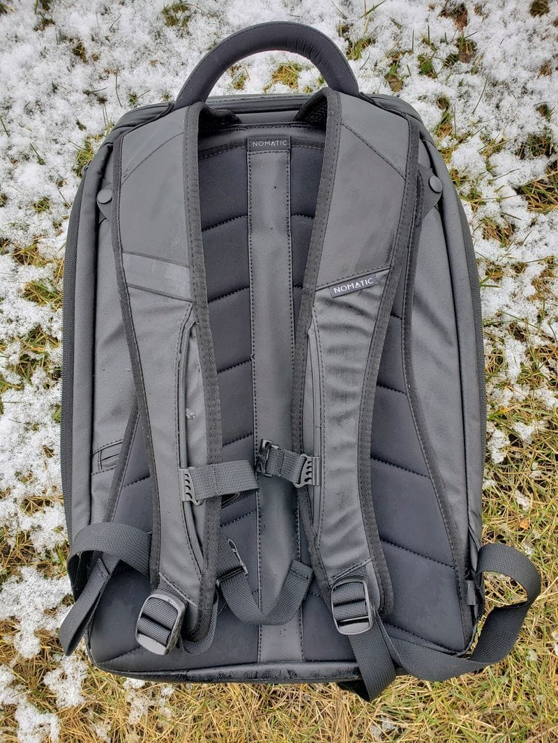 Nomatic backpack in backpack mode with straps
