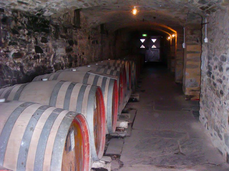 Oak casks in the wine cellar at Vineyard at Jacobs Creek Winery Barossa Wine Region Australia