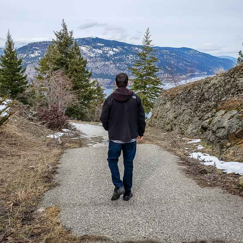Walking down Knox Mountain trail in Kelowna