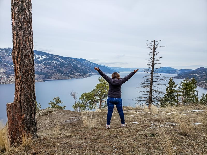 at the top of Knox Mountain in Kelowna looking over Okanagan Lake