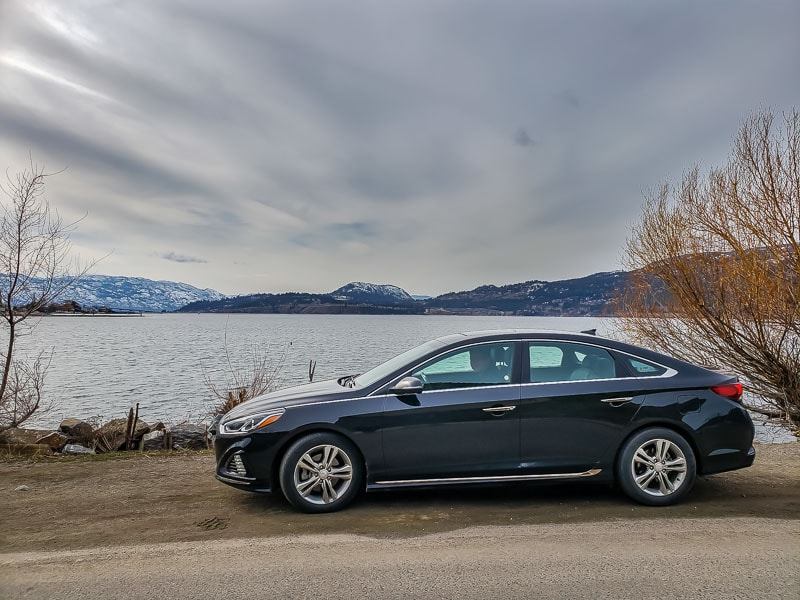 Avis rental car by Okanagan Lake in Kelowna