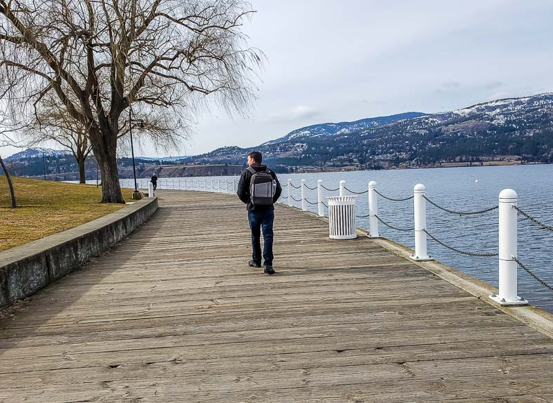 The wooden boardwalk in downtown Kelowna BC along Okanagan Lake