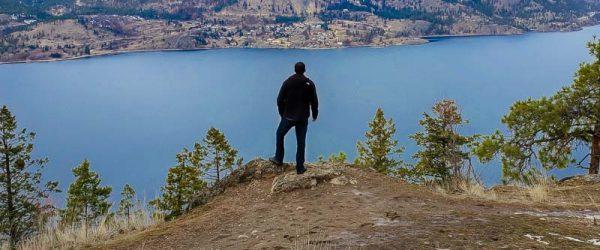 Overlooking Okanagan Lake on Knox Mountain in Kelowna BC