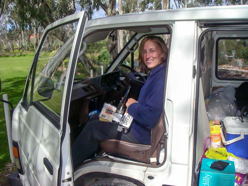 Picnic in the van down the road from Wolf Blass Winery Barossa Wine Region Australia