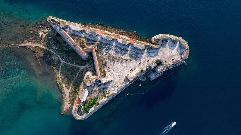St Nicholas Fortress from the air near Sibenik Croatia