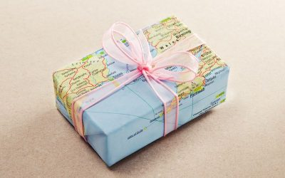the best small travel gifts box wrapped in map paper
