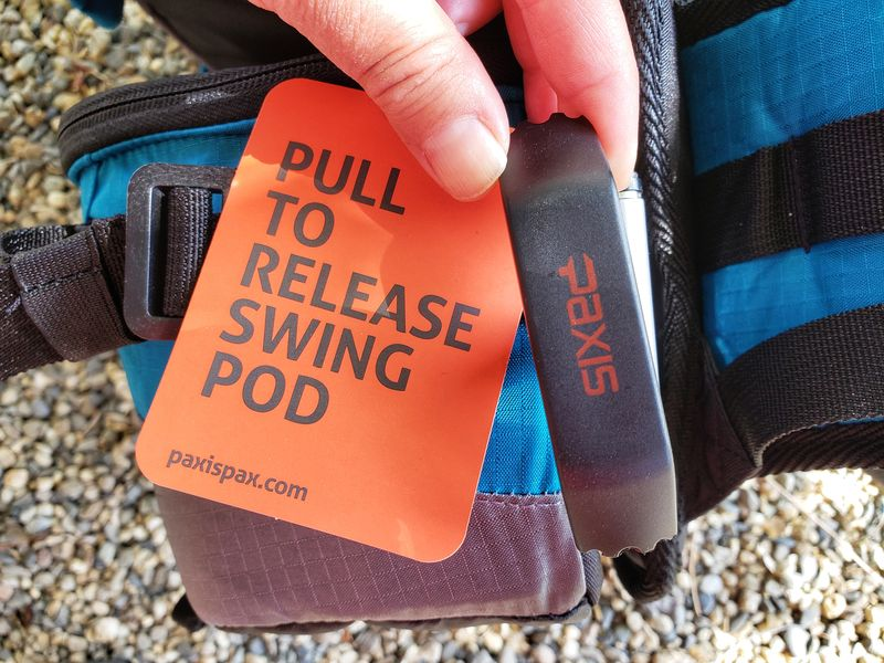 lever to release swing pod on new Twin Lakes Paxis backpack