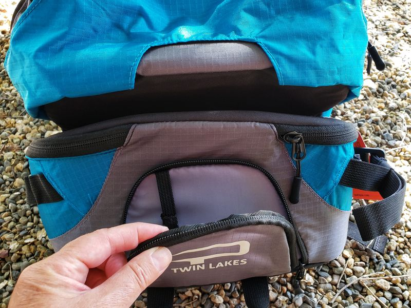 Twin Lakes Paxis backpack pocket at front of swing compartment