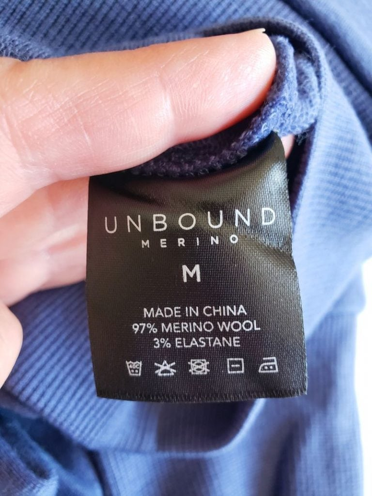 Unbound Merino wool clothing laundry instructions tag