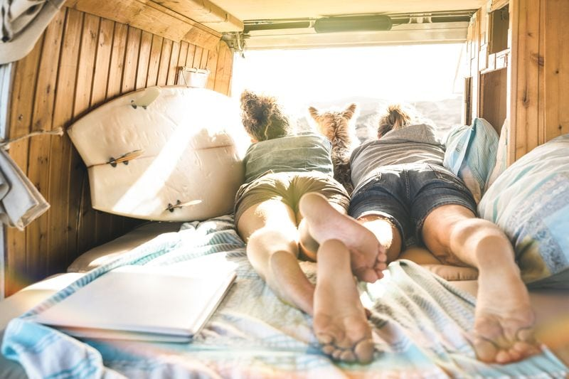 Couple with cute dog on bed in van
