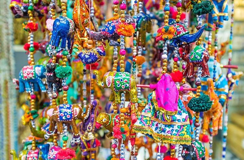 Colorful elephant figurines at Souq Mubarakiya in Kuwait City
